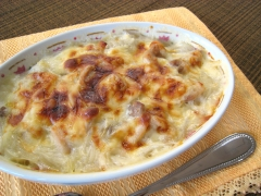 Malony gratin with melted cheese
