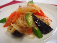 夏野菜のペペロンチーノ風マロニー