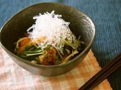 水菜とキムチのプチプチサラダ