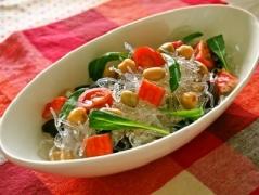 プチプチと蒸し豆のサラダ
